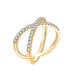 PAVOI 14K Gold Plated Crossover X Stackable Rings | Gold Rings for Women | Amazon (US)