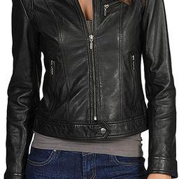 DOLLY LAMB Women's Lambskin Leather Moto Biker Jacket - Winter Wear | Amazon (US)