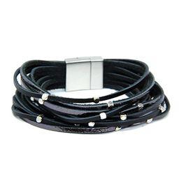 Me Plus Women's Multi Color Strand Wrap Leather Magnetic Closure Breacelet | Amazon (US)