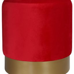 """Cortesi Home Sheppe Cylindrical Ottoman With Gold Metal Base, 18"""", Red 
