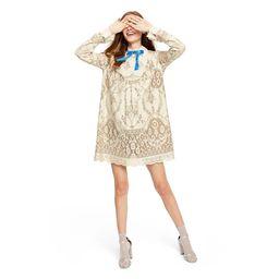 Women's Lace Long Sleeve Ribbon Detail Shift Mini Dress - Anna Sui for Target Ivory | Target