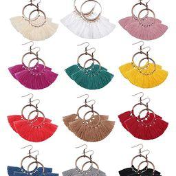 CASSIECA 12 Pairs Statement Tassel Hoop Earrings Bohemian Fan Dangle Hook Tassel Earrings Set Dro... | Amazon (US)