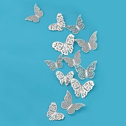 pinkblume Silver Butterfly Decorations 3D Wall Decals Metallic Art Sticker DIY Man-Made Removable... | Amazon (US)