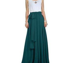 CoutureBridal Women Chiffon Maxi Skirt Long Elastic Pleated Formal Wedding with Bow Customizable | Amazon (US)