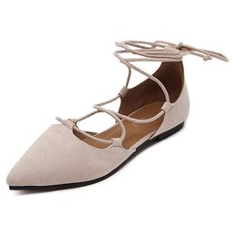 Meeshine Womens D'Orsay Pointy Toe Ankle Strap Wrap Ballet Flats Lace Up Flat Shoes | Amazon (US)