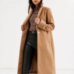 River Island single button coat in camel   ASOS UK