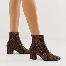 ALDO Brown Snake Sock Mid Heel Boot   ASOS UK
