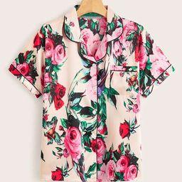 Floral Print Button-up Satin PJ Set   SHEIN