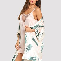 Tropical Print Self Tie Robe   SHEIN