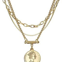 Coin Necklace Gold Plated Snake Chain Round Pendant Gold Layered Necklace for Women | Amazon (US)