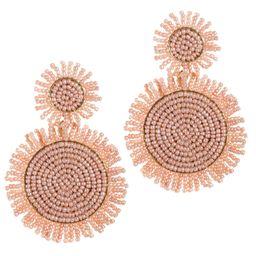 14K Gold Statement Drop Earrings For Women Bohemian Beaded Round Earrings Fashion Large Handmade ... | Amazon (US)