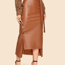 SHEIN60s Double Button Asymmetrical Hem Belted Faux Leather Skirt | SHEIN