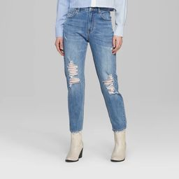 Women's High-Rise Distressed Mom Jeans - Wild Fable™ Medium Blue Wash | Target