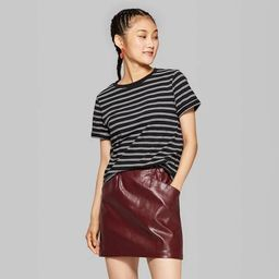 Women's Striped Short Sleeve Crewneck Relaxed Fit T-Shirt - Wild Fable™ Black/White | Target