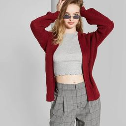 Women's Long Sleeve Boxy Cardigan - Wild Fable™ Berry Maroon | Target