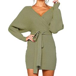 Mansy Women's Sexy Cocktail Batwing Long Sleeve Backless Mock Wrap Knit Sweater Mini Dress | Amazon (US)