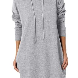 TheMogan S~3X Basic Loose Fit Pocket Pullover Hoodie Long Tunic Sweatshirts | Amazon (US)