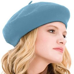 Kimming Womens Beret 100% Wool French Beret Solid Color Beanie Cap Hat   Amazon (US)