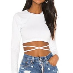 superdown Tatum Tie Back Crop Top in White from Revolve.com | Revolve Clothing (Global)
