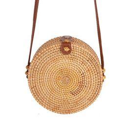 Handwoven Round Rattan Bag Shoulder Leather Straps Natural Chic Circle Handbag   Walmart (US)
