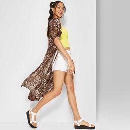 Women's Leopard Print Short Sleeve Tie Waist Kimono Jacket - Wild Fable™ Brown   Target