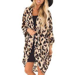 Chiffon Shawl Leopard Print Kimono Cardigan Top Cover Up Blouse Beachwear Women   Amazon (US)