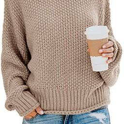 Womens Turtleneck Loose Sweater Batwing Long Sleeve Chunky Knitted Pullover Jumper Tops | Amazon (US)