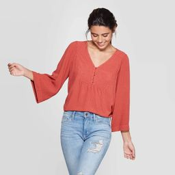 Women's Long Sleeve V-Neck Peasant Top - Universal Thread™ Rust   Target