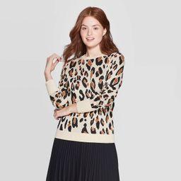 Women's Leopard Print Long Sleeve Rib-Knit Cuff Crewneck Pullover Sweater - A New Day™ Cream | Target
