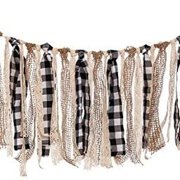 Ling's moment Buffalo Plaid Fabric Tassel Garland, Lace Burlap Rig Tie Banner, Fall/Thanksgiving ... | Amazon (US)