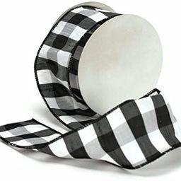 "Cheshire Wired Edged Black and White Dupioni Striped Ribbon 2 1/2"" 10 Yards | Amazon (US)"