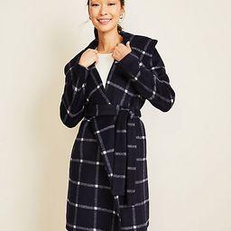 Windowpane Shawl Collar Wrap Coat | Ann Taylor (US)