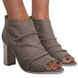 Liyuandian Womens Open Toe Booties Zipper Back Ankle Boots Chunky Stacked Block Heel Draped Heels   Amazon (US)