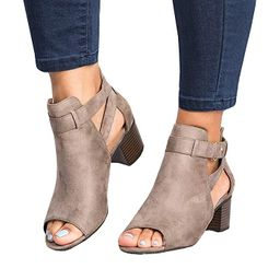 FISACE Womens Open Peep Toe Side Cut Out Low Wedge Sandal Ankle Buckle Suede Ankle Bootie Shoes | Amazon (US)