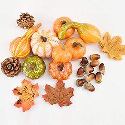 CrazyCharlie 50pcs Mixed Artificial Pumpkins Maple Leaves Pine Cones Acorns for Halloween Harvest...   Amazon (US)