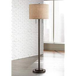 Garth Modern Floor Lamp Oil Rubbed Bronze Burlap Fabric Drum Shade for Living Room Reading Bedroo... | Amazon (US)
