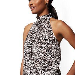 Leopard-Print Smocked Halter Blouse   New York & Company
