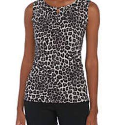 Sleeveless Keyhole Leopard Print Blouse   Belk