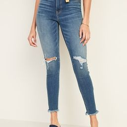 High-Waisted Raw-Edge Rockstar Super Skinny Ankle Jeans For Women | Old Navy (US)