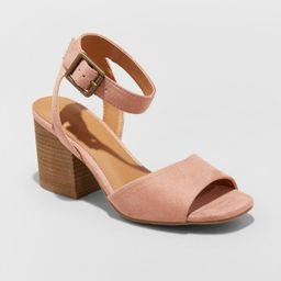 Women's Megan Microsuede Quarter Strap Heeled Pump Sandals - Universal Thread™ | Target