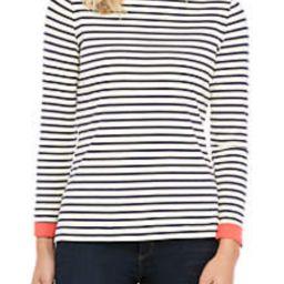 Contrast Cuff Stripe Boat Neck Top | Belk