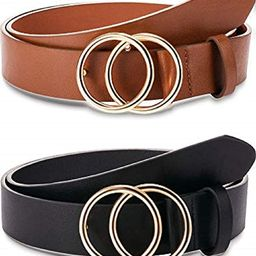 2 Pieces Women Leather Belt Faux Leather Waist Belts with Double O-Ring Buckle | Amazon (US)