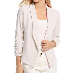 POGTMM Women 3/4 Sleeve Blazer Open Front Cardigan Jacket Work Office Blazer   Amazon (US)