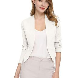 Allegra K Women's Collarless Work Office Business Casual Cropped Blazer   Amazon (US)