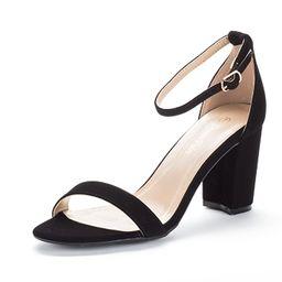 DREAM PAIRS Women's Chunk Low Heel Pump Sandals   Amazon (US)