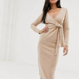 ASOS DESIGN super soft wrap front midi dress   ASOS US