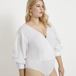 Drama Sleeve Wrap Front Bodysuit   Eloquii