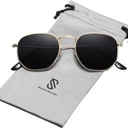Small Square Polarized Sunglasses for Men and Women Polygon Mirrored Lens SJ1072 | Amazon (US)