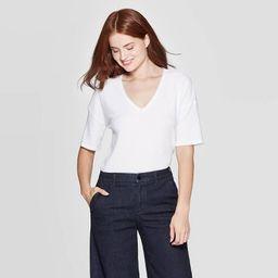 Women's Short Sleeve V-Neck Rib T-Shirt - A New Day™ | Target