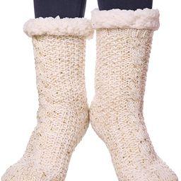 SDBING Women's Sequin Super Soft Warm Cozy Fuzzy Fleece-lined Winter Christmas gift Slipper socks   Amazon (US)